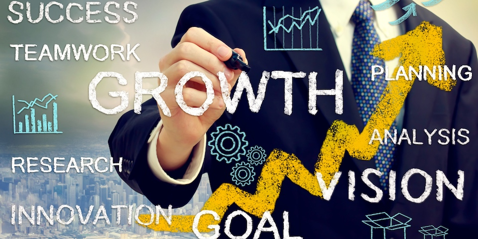 Business man with concepts of growth innovation vision success and creativity with rising arrows