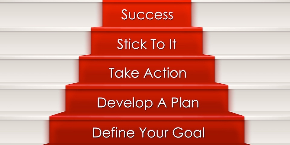 Five step to success concept which include goal, plan, action. Stairway and red carpet could represent step by step process of building career, self development, business to success, achievement and victory